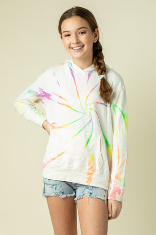 LAPID BLUE TIE DYE FLEECE STRIPE PULLOVER