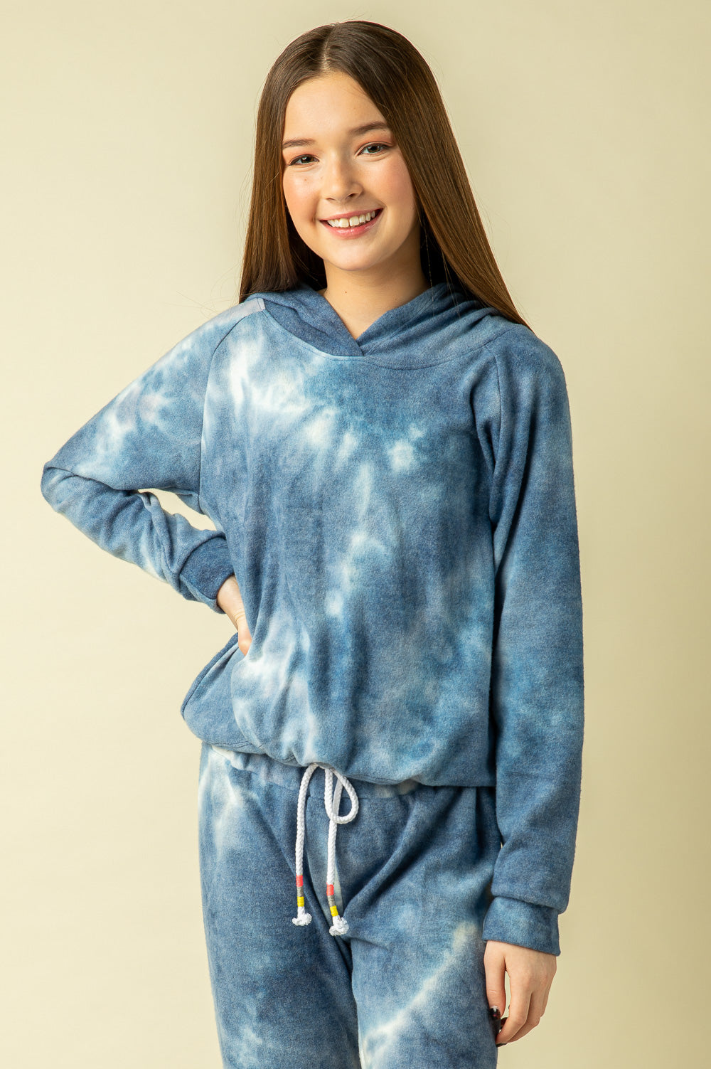 BLUE TIE DYE BRUSHED HACCI HOODY
