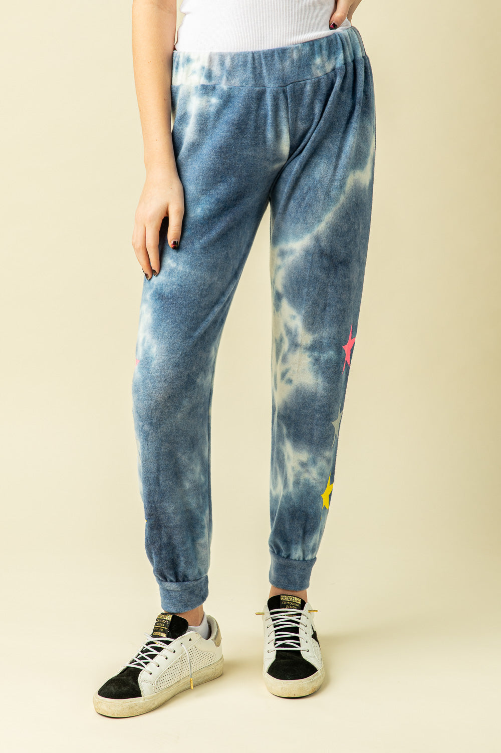 BLUE TIE DYE BRUSHED HACCI JOGGERS