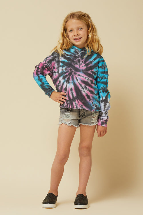 BRIGHT SWIRL TIE DYE BURNOUT HOODY