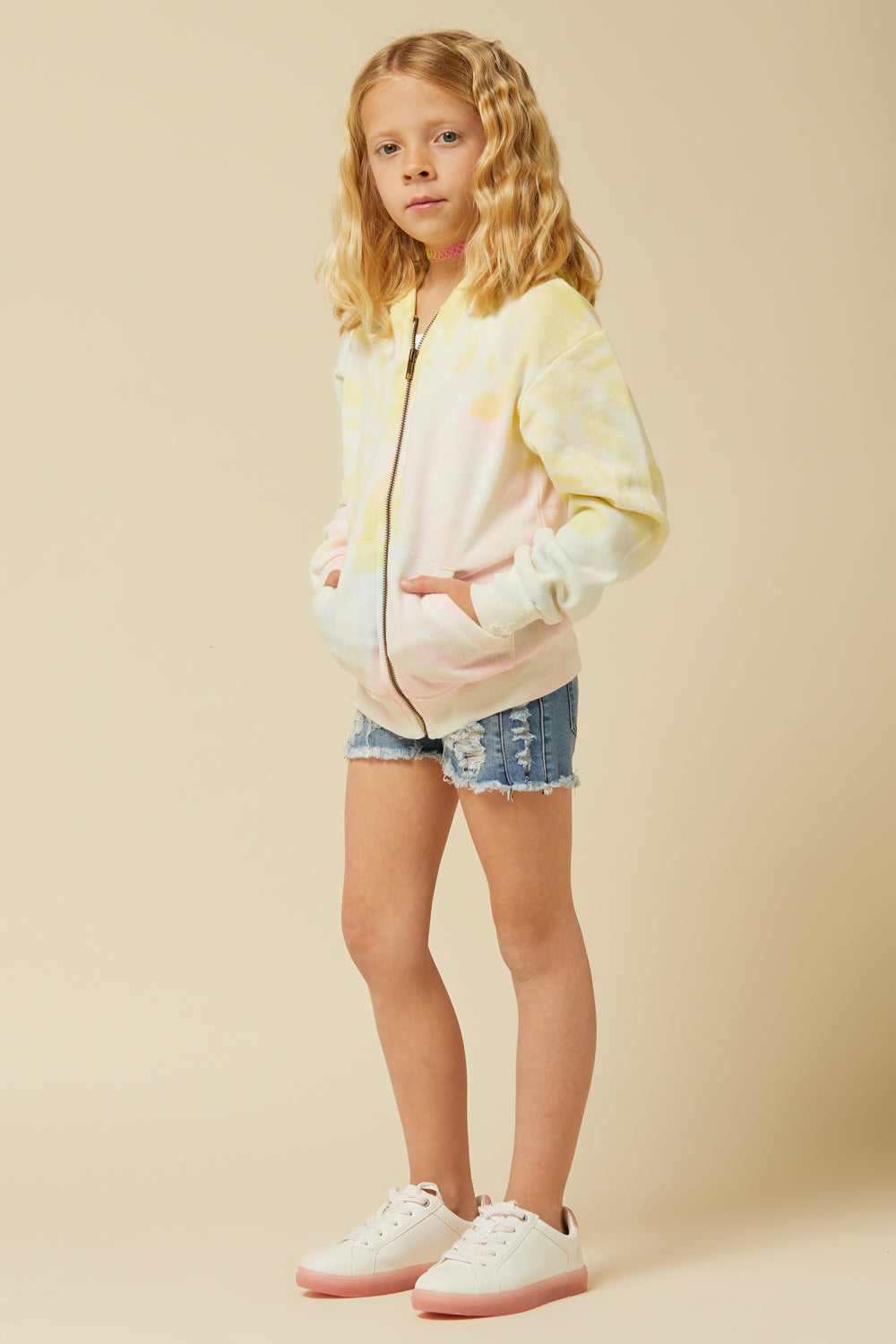 SOFT NEON TIE DYE FULL ZIP HOODY