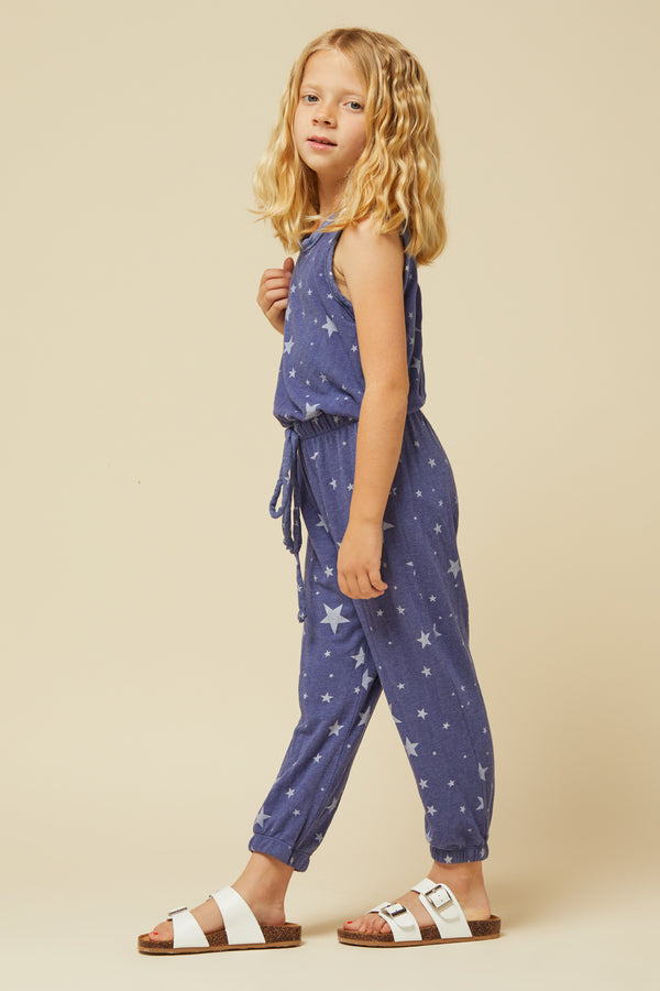 NAVY STAR PRINT TIE WAISTBAND JUMPSUIT