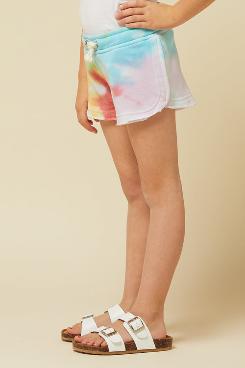 SWIRL TIE DYE BURNOUT SHORTS