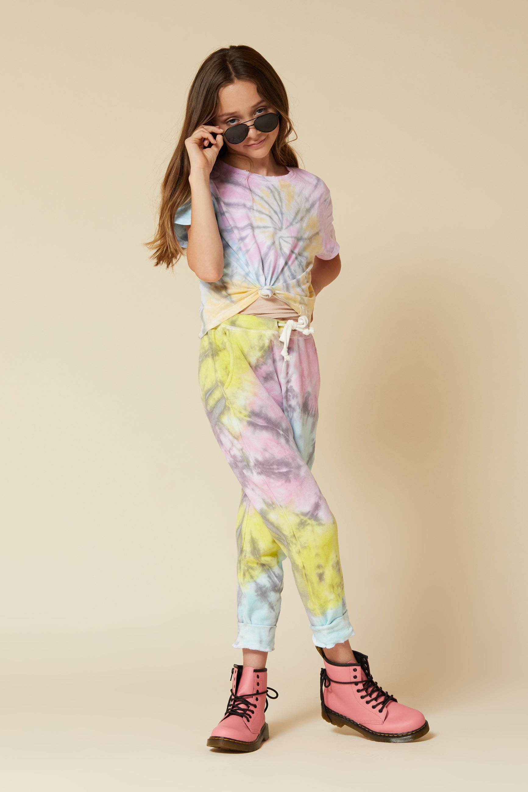 PASTEL SWIRL TIE DYE PATCH POCKET JOGGERS