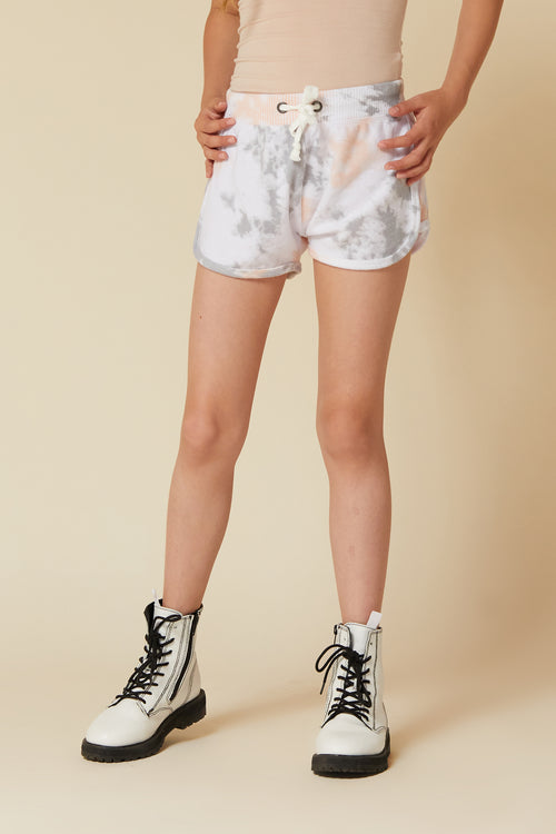 GREY/PEACH TIE DYE BRUSHED HACCI SHORTS