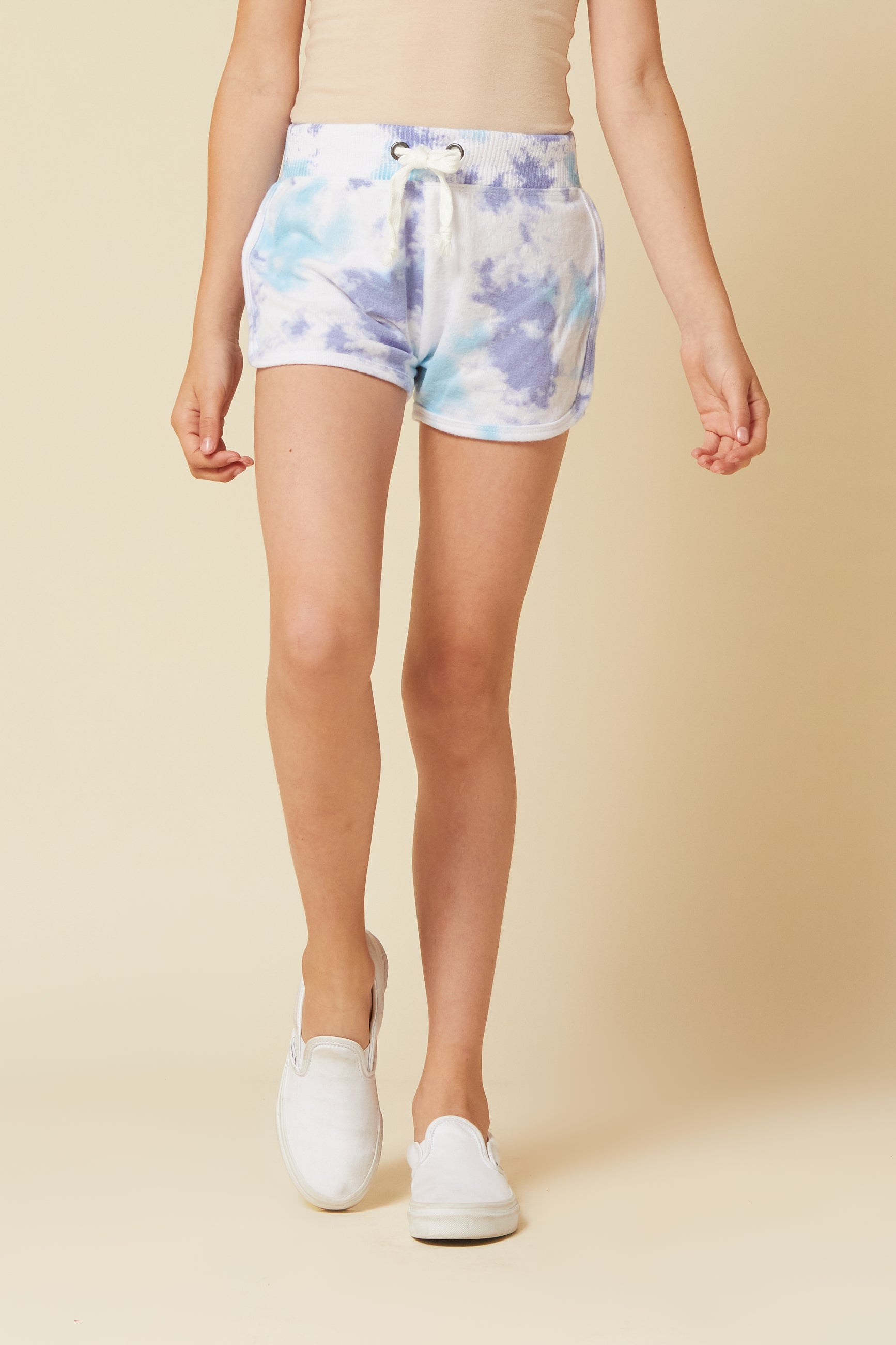 BLUE/LAVENDER TIE DYE BRUSHED HACCI SHORTS