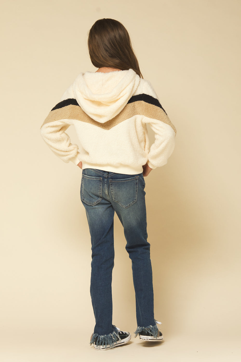 Ivory w/ Black and Camel Fuzzy Half Zip Hoodie
