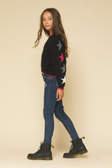 BLACK MULTI COLOR STAR SWEATER