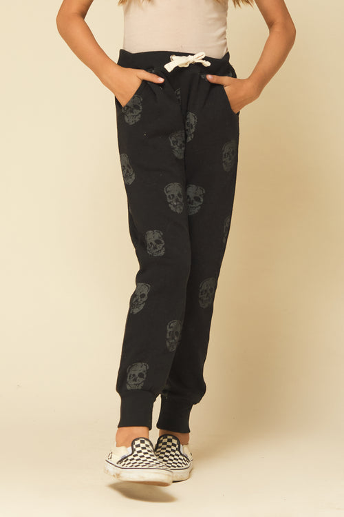 SKULL PRINT BURNOUT FLEECE JOGGERS
