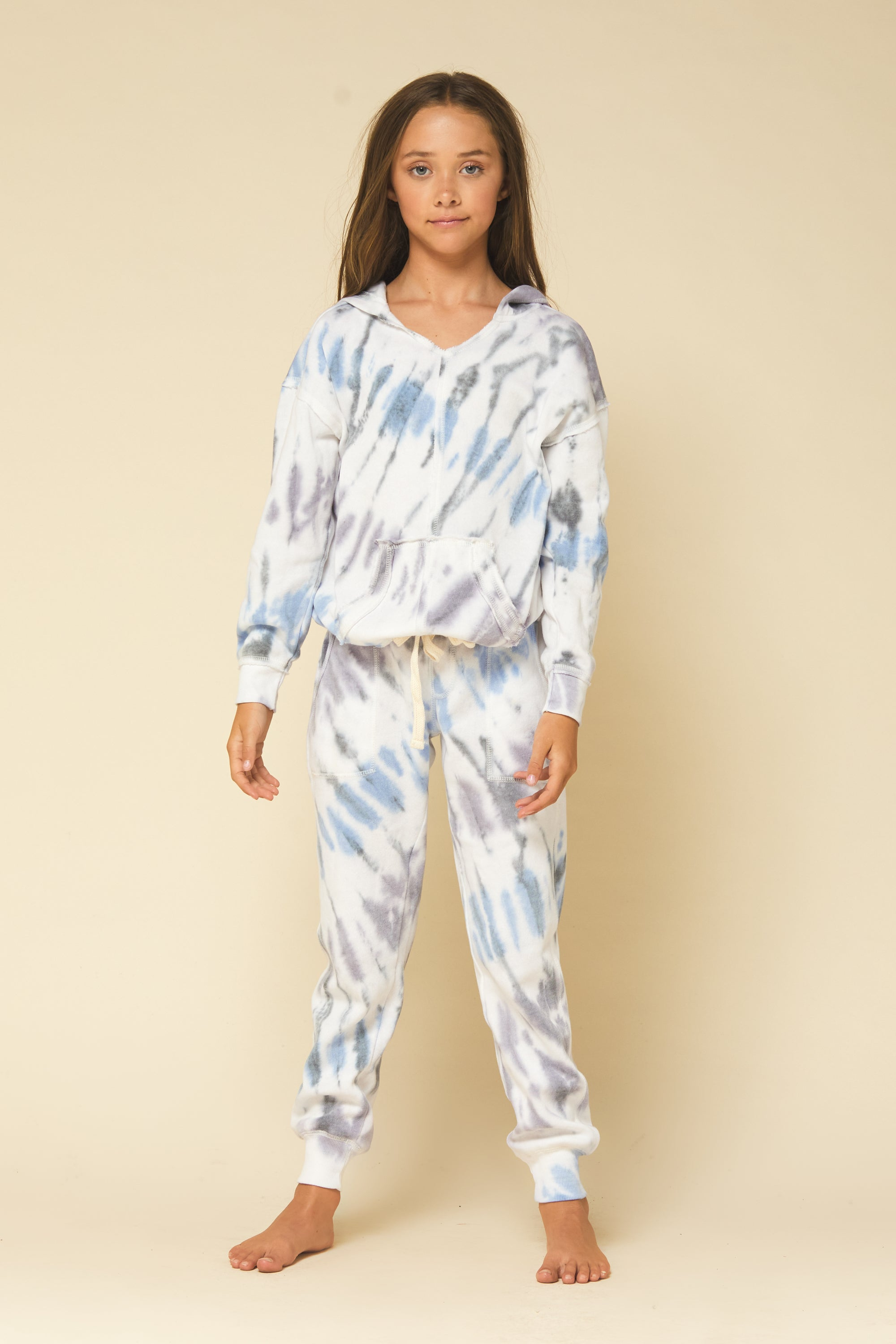 SEASIDE TIE DYE TIE BOTTOM HOODIE