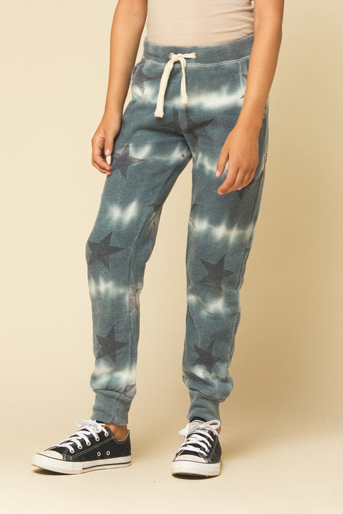 BLACK STAR TIE DYE BURNOUT JOGGERS