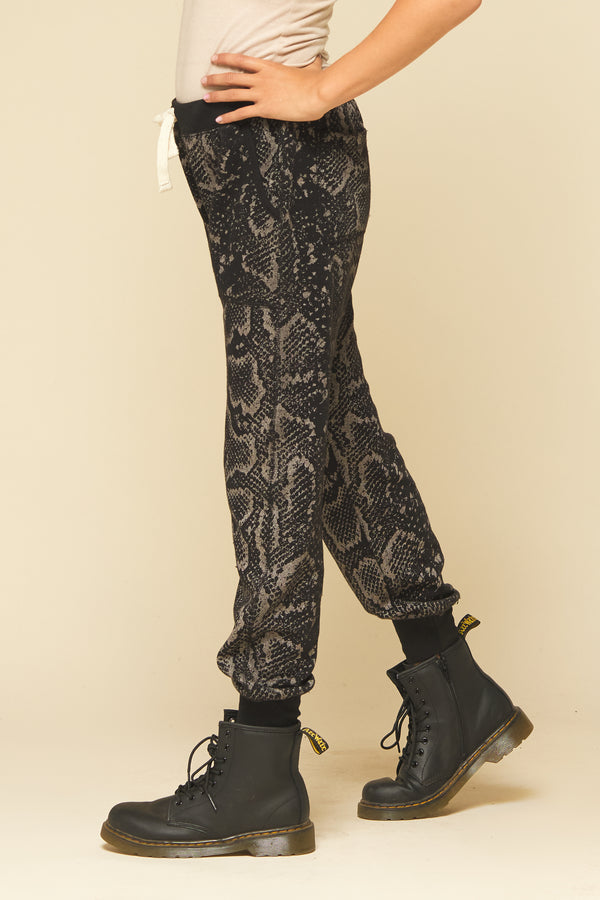 BLACK SNAKESKIN BURNOUT JOGGER