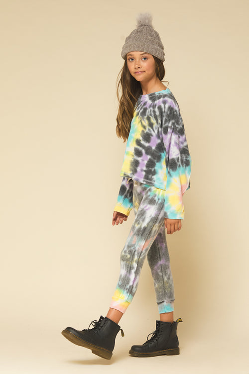 Multi Swirl Tie Dye Raw Edge Long Sleeve Top