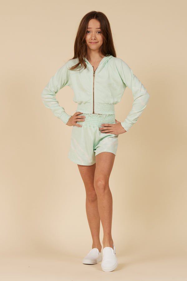 MINT PUCKER RIBBED ZIP UP
