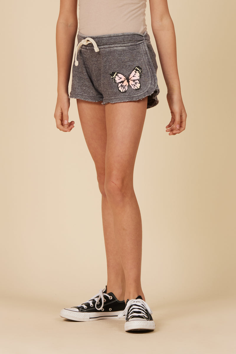 STEEL GREY BURNOUT SHORTS