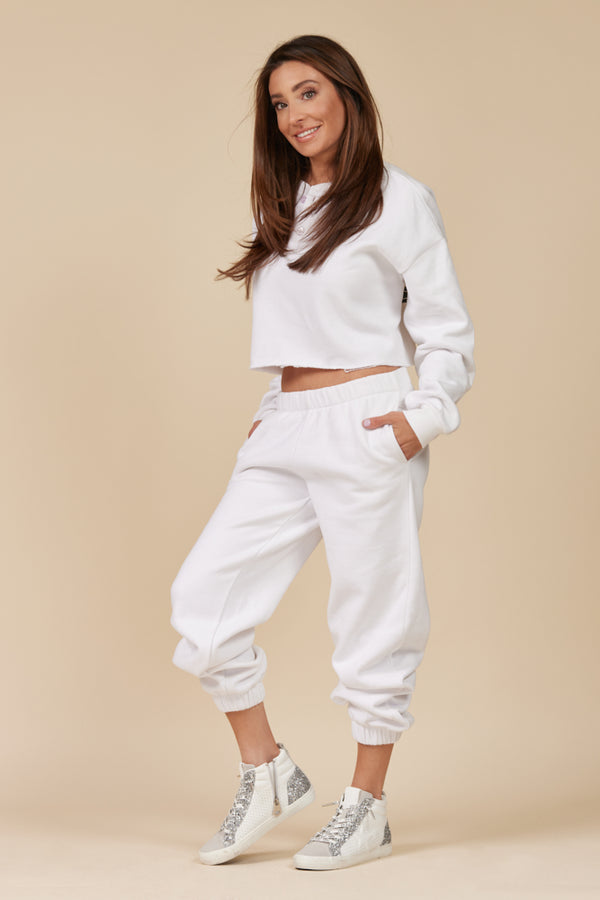 White Proweave High Waisted Jogger
