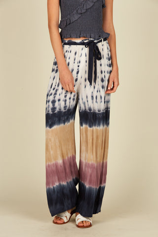 Tie Dye Ruffle Maxi Dress W/ Ties