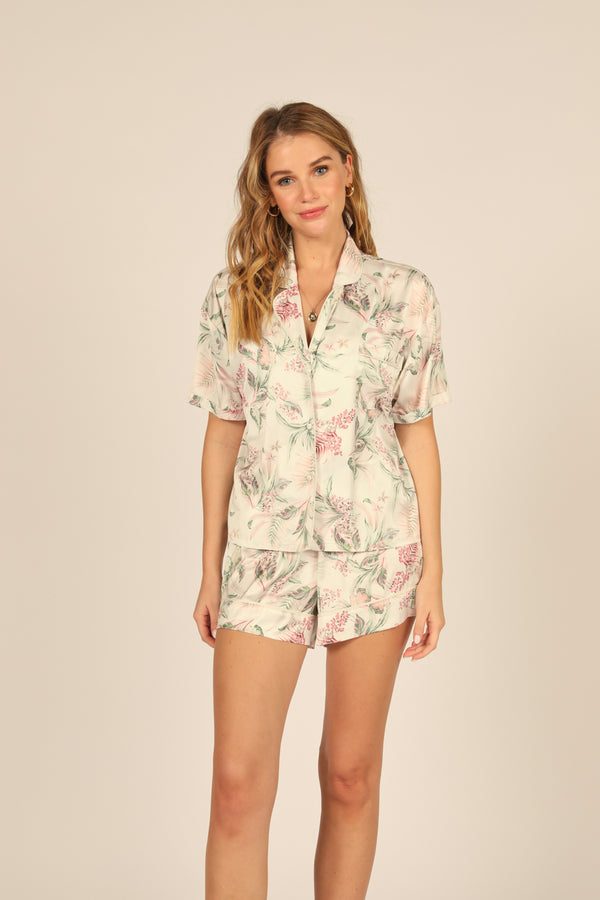 Day Lilly Print Satin Button Down Shirt