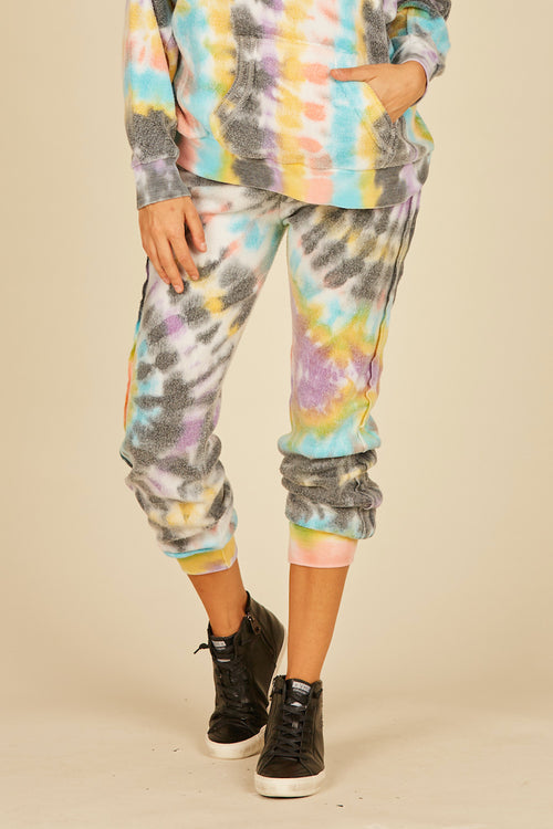 Multi Swirl Tie Dye Reverse Burnout Fleece Joggers
