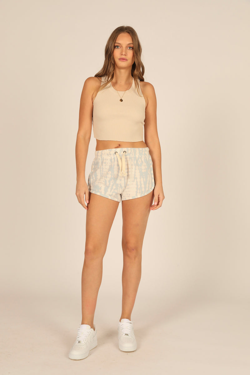 Dusty Blue/Peach New Heavy Hacci Tie Dye Shorts