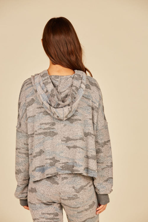 Grey Camo Print Cozy Fleece Hoodie