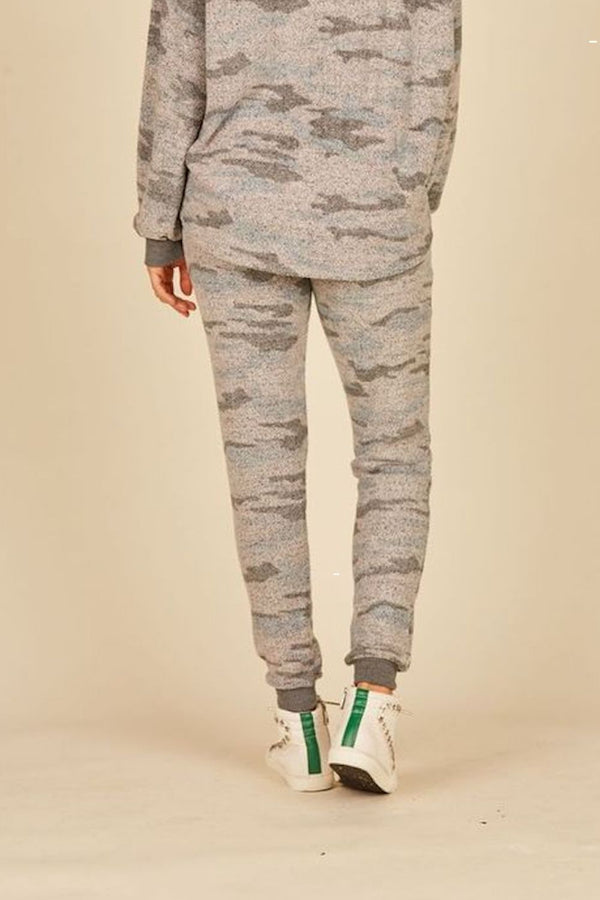 Grey Camo Print Cozy Fleece Joggers