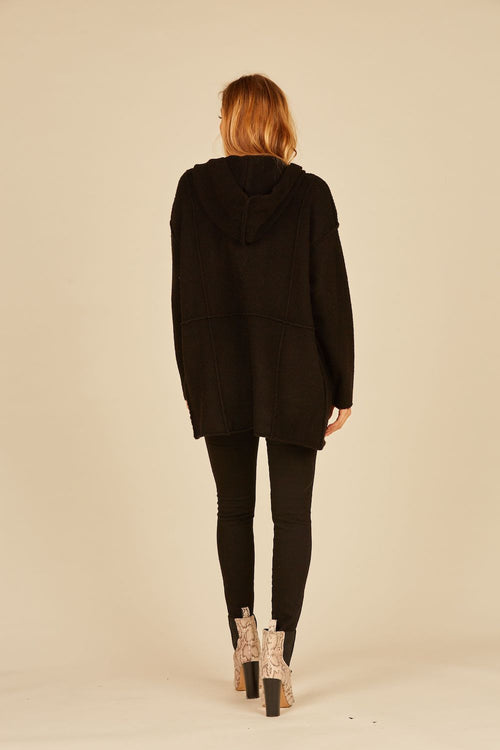 Black Raw Edge Oversized Cardigan