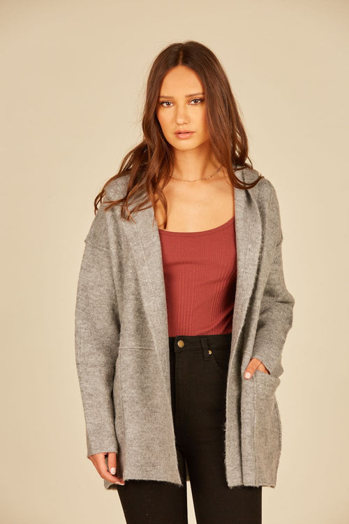 Heather Grey Raw Edge Oversized Cardigan