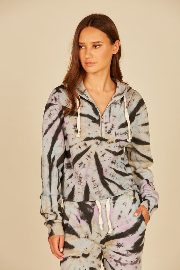 Grunge Tie Dye Burnout Fleece Crop Hoodie