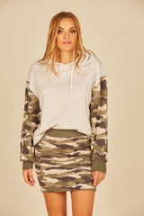 Heather Oatmeal w/ Camo Fleece and Jacquard Boxy Crop Hoodie