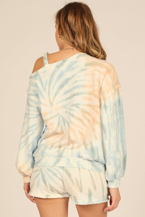 Breezy Beach Tie Dye Burnout One Shoulder Top