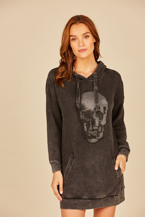 Charcoal Washed Rhinestone Skull Dress