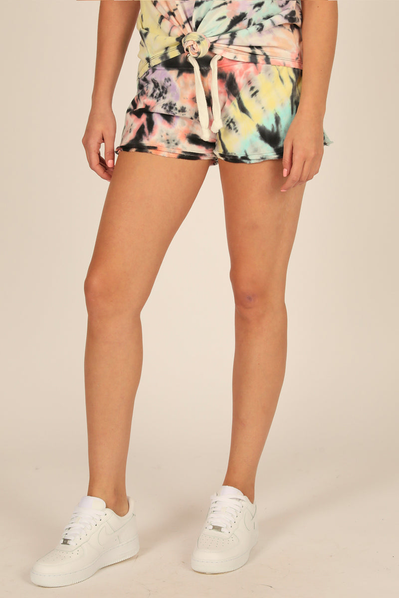 Yummy Swirl Tie Dye Burnout Fleece Short