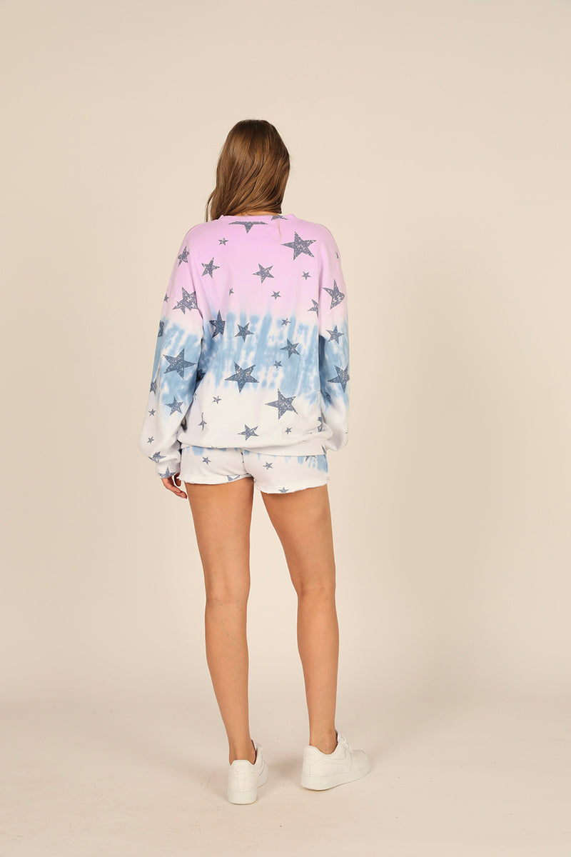 Lavender/Blue Ombre Star Print Shorts