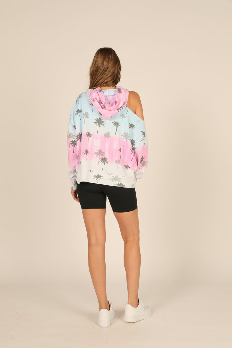 Sorbet Ombre Palm Tree Print Hoodie