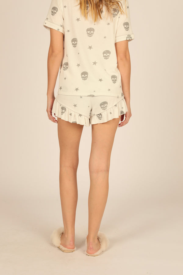 White & Grey Print Skull Ruffle Short
