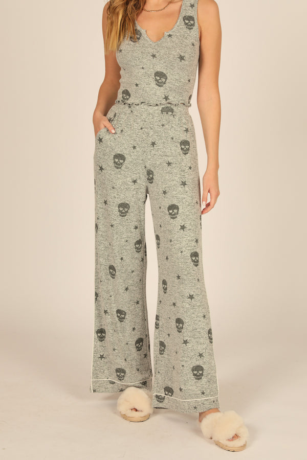 Heather Grey & Charcoal Print Skull Wide Leg Pant