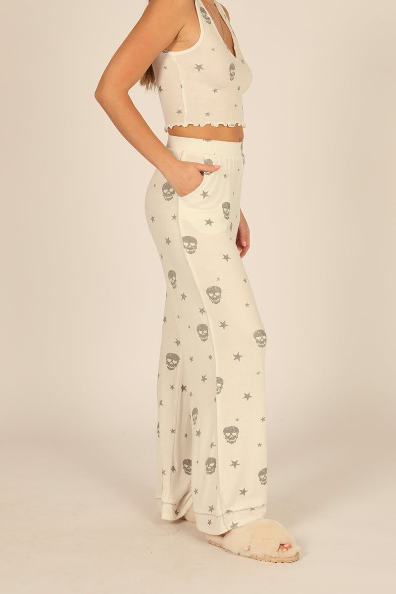 White & Grey Print Skull Wide Leg Pant