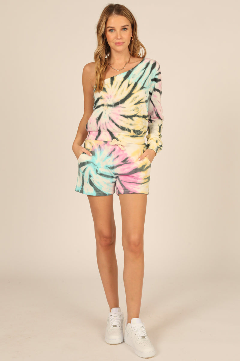 Pastel Swirl Tie Dye Burnout Fleece One Shoulder Top