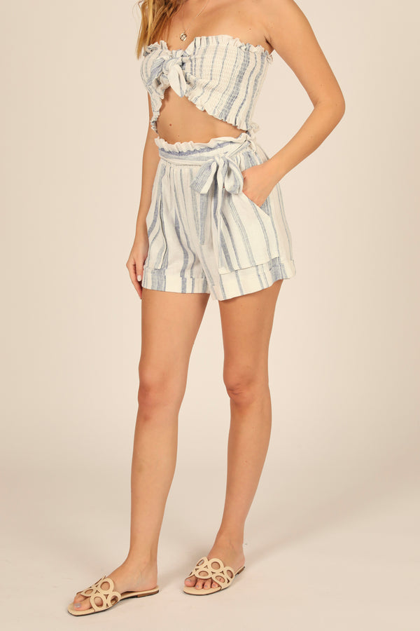 Sailor Stripe Paper Bag Waist Short