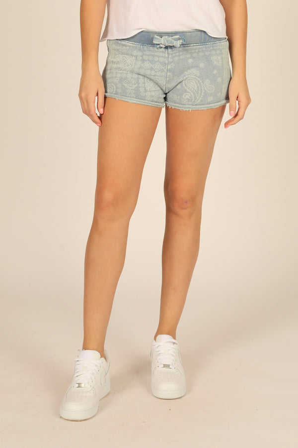 Denim Bandana Print French Terry Shorts