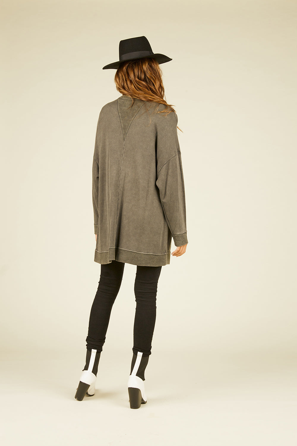 Washed Grey Loopy Terry Cardigan