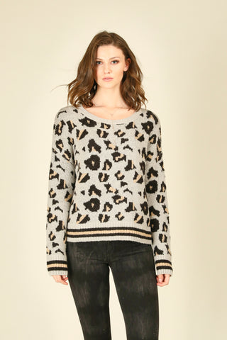 Black and Leopard Tie Bottom Crewneck