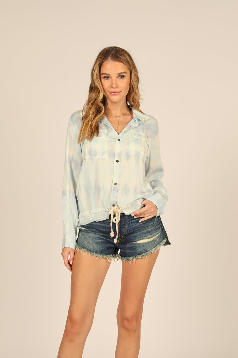 White/Blue Tie Dye Button Down Shirt