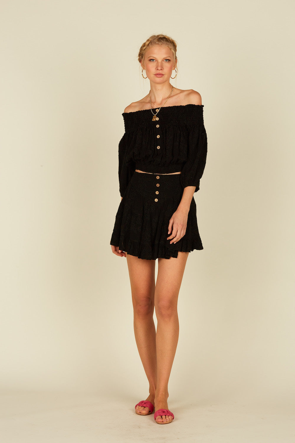 Black Button Front Mini Skirt