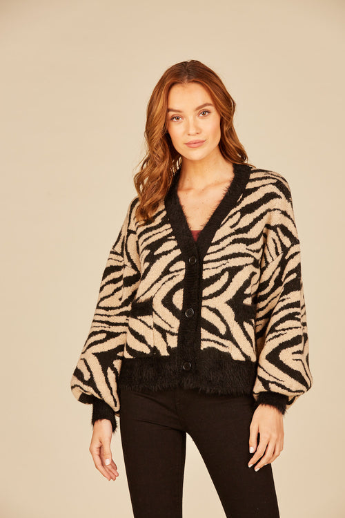Animal Jaquard Boxy Crop Cardigan