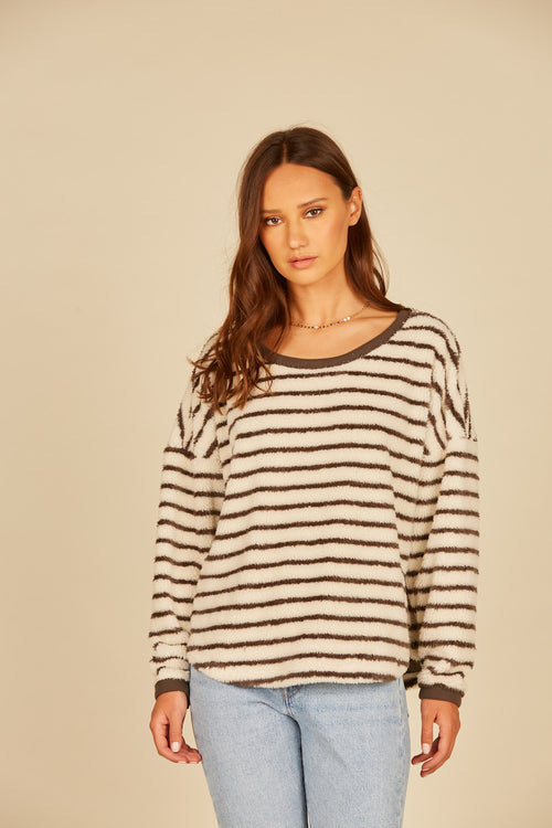Striped Fuzzy Crewneck Sweater