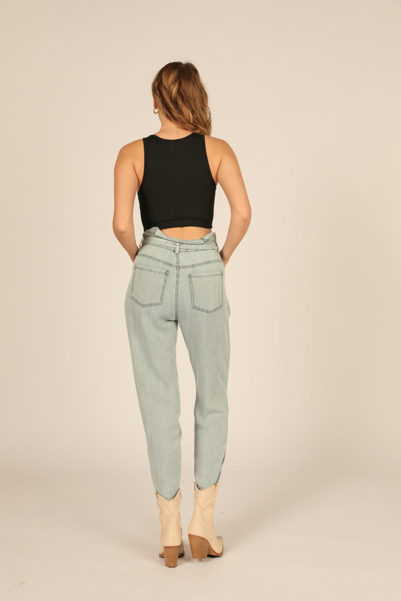 Denim High Waisted Paperbag Cargo Pant