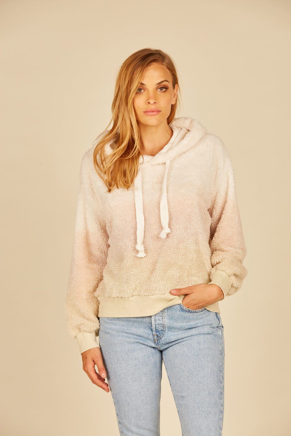 Ivory/ Mauve/ Camel Bear Pullover Hoodie