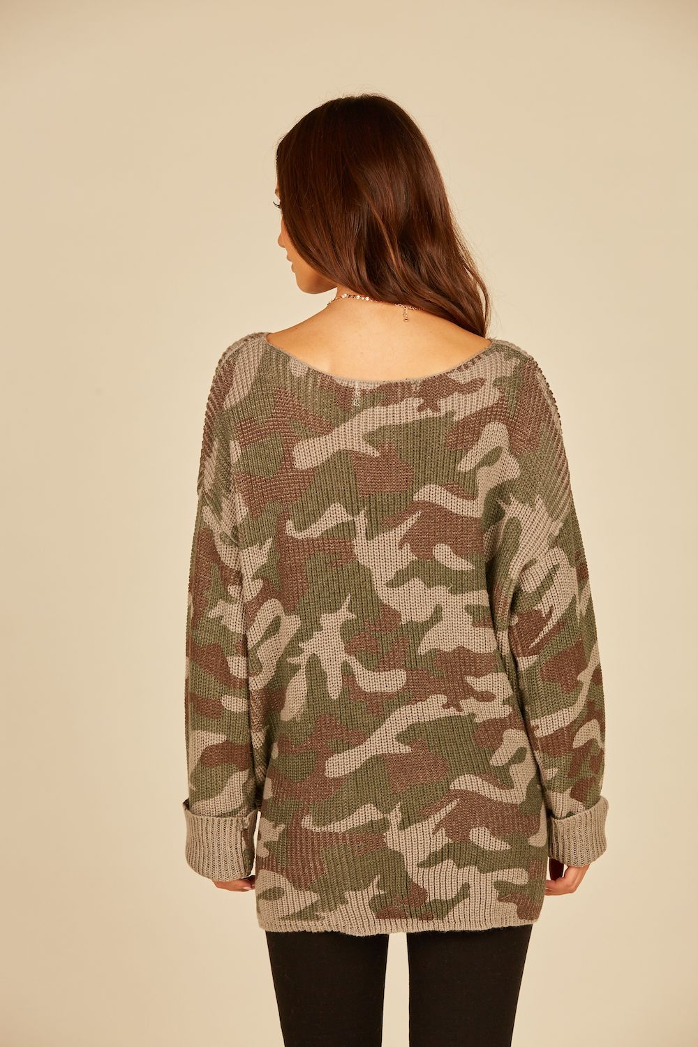 Army Combat Camo Side Tunnel Tie Printed Sweater